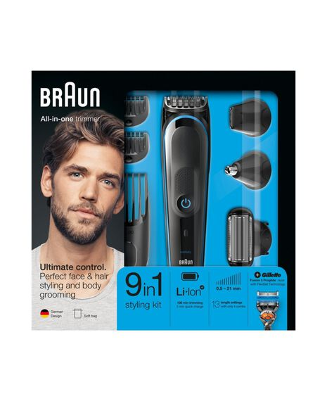 9-in-1 trimmer with 7 attachments and Gillette Fusion5 ProGlide razor