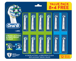 Oral B Cross Action 8pk + Precision Clean 4pk Refills