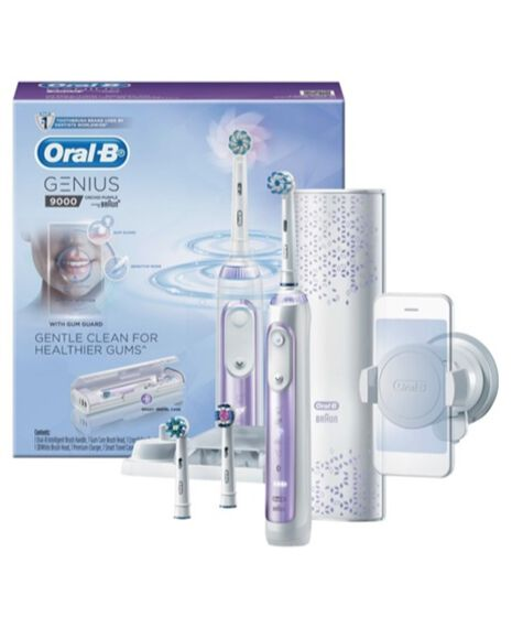 Genius 9000 Electric Toothbrush with 3 Electric Toothbrush Replacement Heads & Smart Travel Case, Purple Orchid