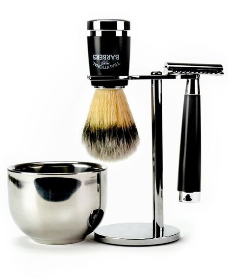 4 Piece Classic Shave Set with Silver Tip Nylon Brush