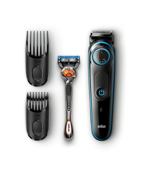 Beard trimmer with precision dial, 2 combs and Gillette Fusion5 ProGlide razor