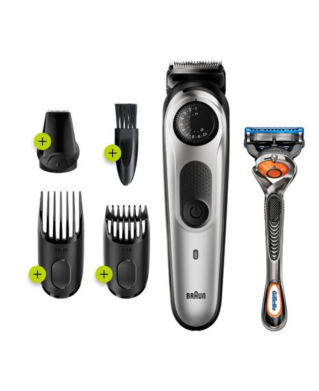 Series 5 Beard trimmer with Precision Dial, 3 Attachments and Gillette Fusion5 ProGlide razor