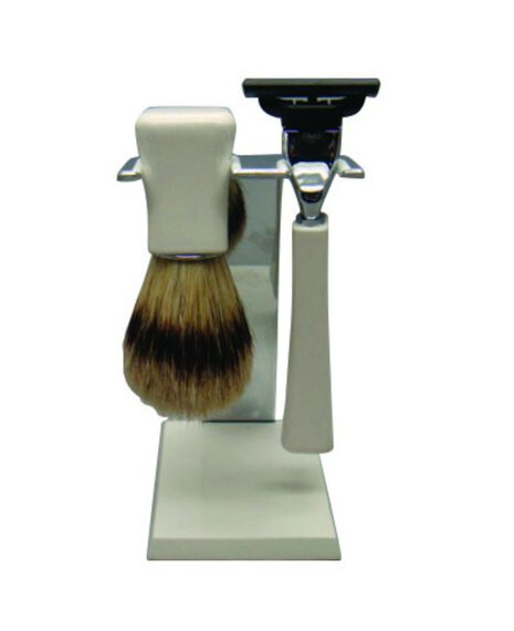 Mach 3 Razor and Boar Bristle Brush Shave Set - White