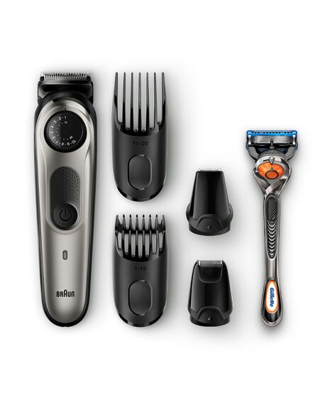 Beard Trimmer with precision dial, 4 attachments and Gillette Fusion5 ProGlide razor