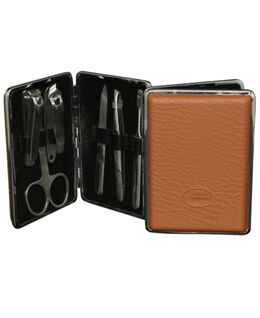 Manicure Set 6pc Tan Clip Case