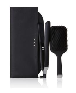 platinum+ hair straightener gift set with paddle hair brush & bag