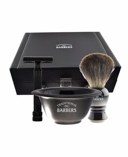 4 Piece Complete Wet Shave Kit with Badger Brush