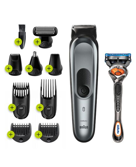 10-in-1 trimmer with 8 attachments and Gillette Fusion5 ProGlide Razor