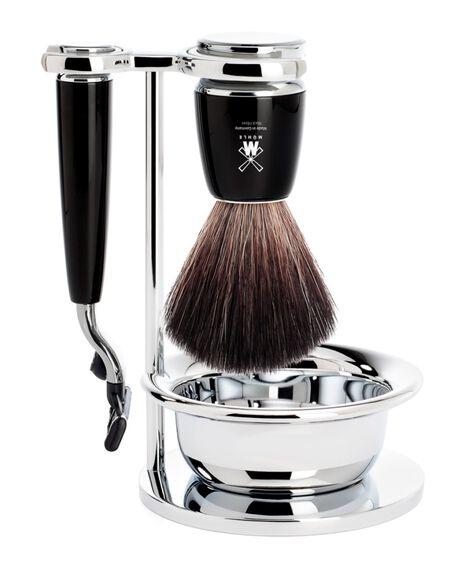 Rytmo 4 Piece Black Fibre/Mach3 Shaving Set - Black