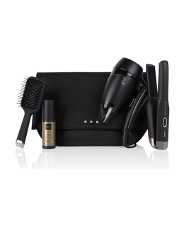 travel gift set with unplugged cordless hair straightener, flight travel hair dryer, heat protect spray & brush