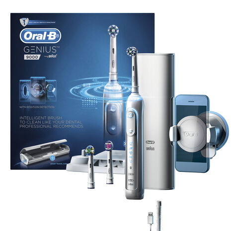 Oral-B Genius 9000 White Electric Toothbrush incl. 3 Brush Head Refills & Smart Travel Case