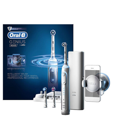 Oral-B Genius 8000 Electric Toothbrush incl. 3 Brush Head Refills & Travel Case | Tuggl