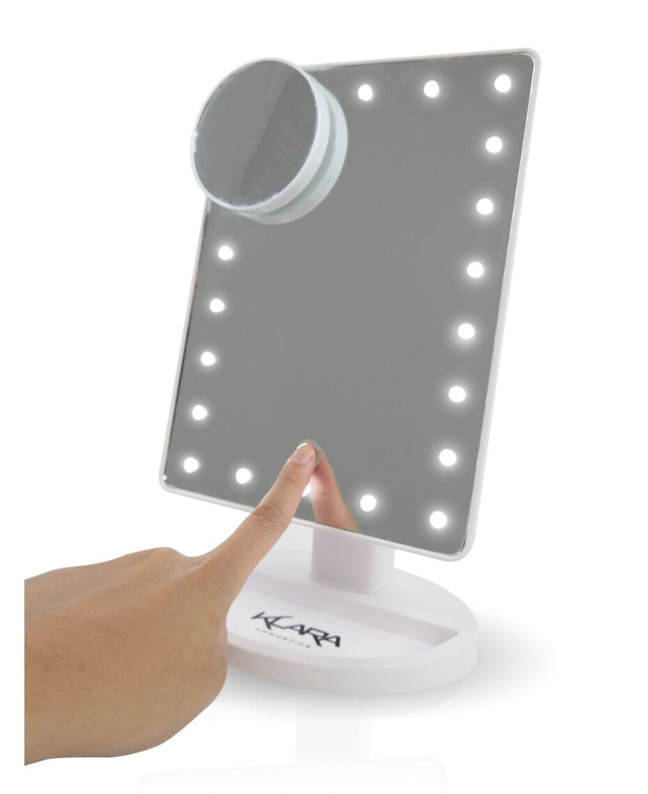 klara led light up mirror white shaver shop. Black Bedroom Furniture Sets. Home Design Ideas