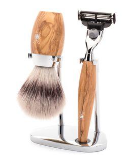 Kosmo 3 Piece Silvertip Fibre/Mach 3 Shaving Set - Olive Wood