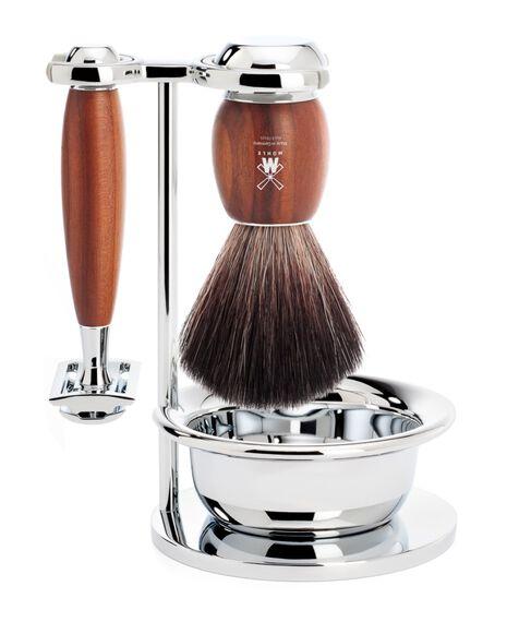 Vivo 4 Piece Black Fibre Shaving Brush & Razor Set - Plum Wood
