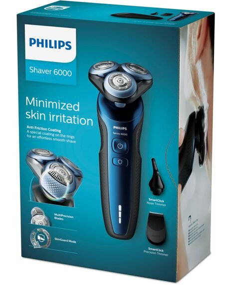 6000 Series Wet & Dry Electric Shaver with SmartClick Trimmer, Nose & Ear Trimmer and Travel Case
