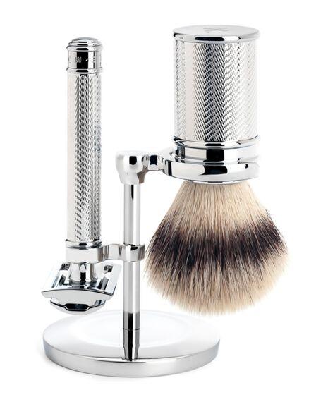 Traditional 3 Piece Silvertip Fibre Shaving Set - Chrome