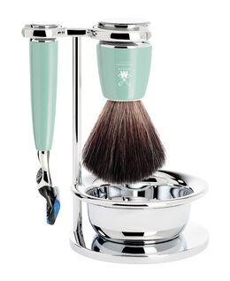 Rytmo 4 Piece Black Fibre/Fusion Shaving Set - Mint Resin
