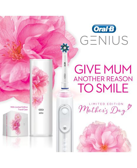 Genius 9000 White Electric Toothbrush w/ White Sakura Limited Edition Box & Case