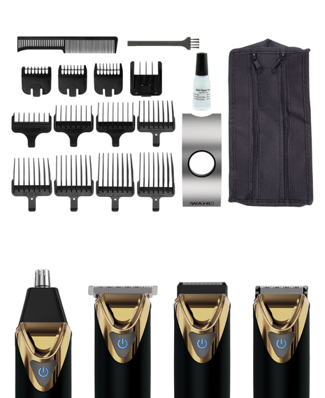 Superior Performance Stainless Steel Lithium Ion Grooming Kit - Black & Gold