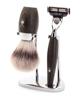 Kosmo 3 Piece Silvertip Fibre/Mach 3 Shaving Set - Bog Oak