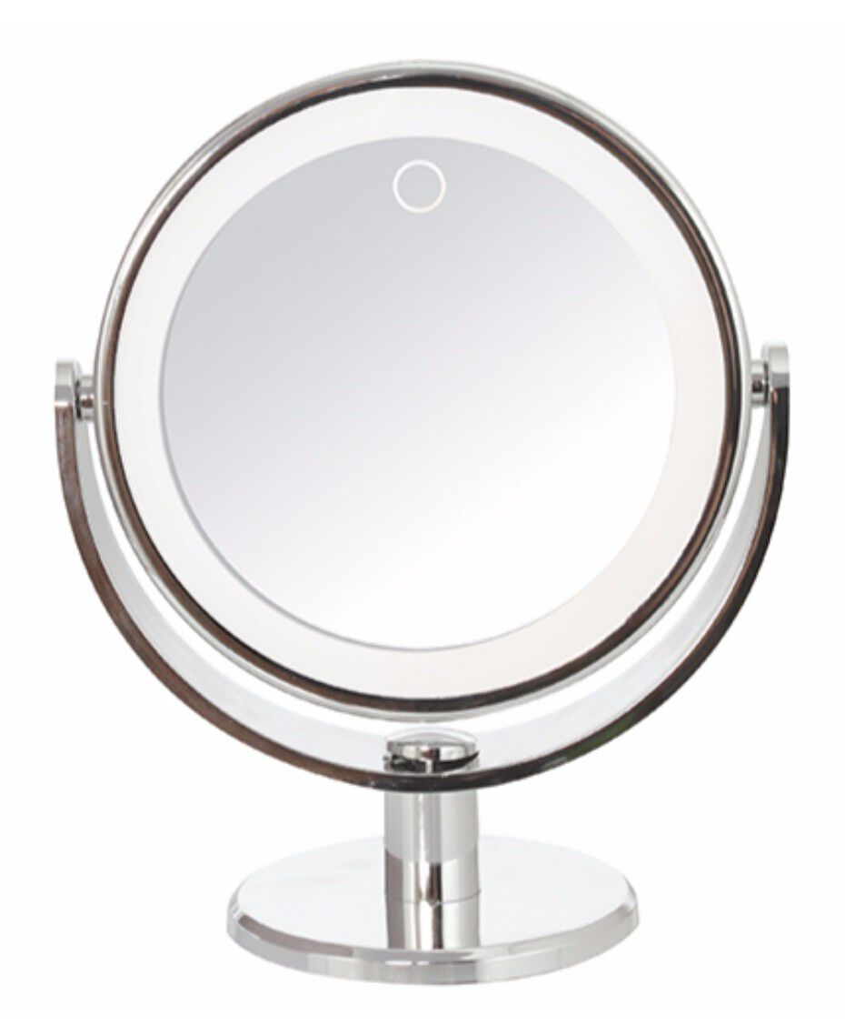 reflections round led lighted mirror shaver shop. Black Bedroom Furniture Sets. Home Design Ideas
