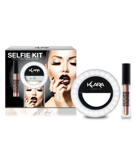 LED Selfie Light and Mini Kiss Proof Matte Lipstick - Brown Sugar